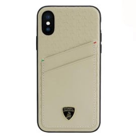 Lamborghini ® For Apple iPhone X / XS Aventador D10 Genuine Leather Protective Back Cover with Card Slots