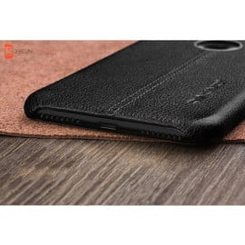 Vaku ® Apple iPhone 7 Plus Lexza Series Double Stitch Leather Shell with Metallic Logo Display Back Cover