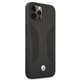 BMW ® For iPhone 13 Pro Real Leather Perforated Seat Side Debossed Line Signature Collection Hard Case - Black