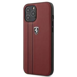 Scuderia Ferrari ® Apple iPhone 12 / 12 Pro / 12 Pro Max Embossed Stripe Leather Case Back Cover