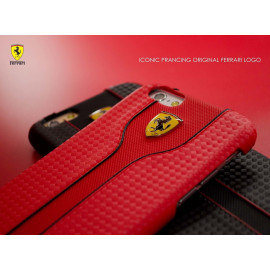 Ferrari ® Apple iPhone 6 / 6S Official Scuderia Logo Double Stitched Dual-Material PU Leather Back Cover