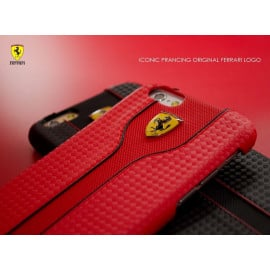 Ferrari ® Apple iPhone 6 Plus / 6S Plus Official Scuderia Logo Double Stitched Dual-Material PU Leather Back Cover