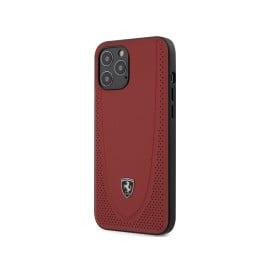 Scuderia Ferrari ® Apple iPhone 12 Pro Max Curved Line Stitched Leather Hard Case Backcover