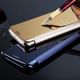Vaku ® Samsung Galaxy J7 Pro Mate Smart Awakening Mirror Folio Metal Electroplated PC Flip Cover