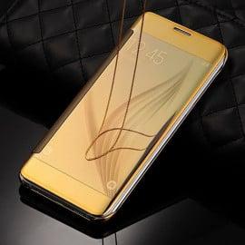 Vaku ® OnePlus 3 / 3T Mate Smart Awakening Mirror Folio Metal Electroplated PC Flip Cover