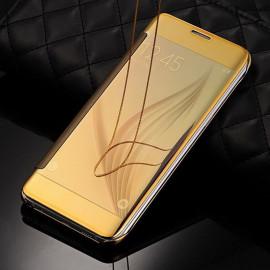 Vaku ® Samsung Galaxy J1 (2015) Mate Smart Awakening Mirror Folio Metal Electroplated PC Flip Cover