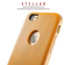 Stellar ® Apple iPhone 6 / 6S G.Lider Ultra-thin Aluminium Metal Bumper Authentic Genuine Leather Back Cover