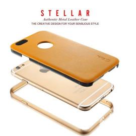 Stellar ® Apple iPhone 6 Plus / 6S Plus G.Lider Ultra-thin Aluminium Metal Bumper Authentic Genuine Leather Back Cover