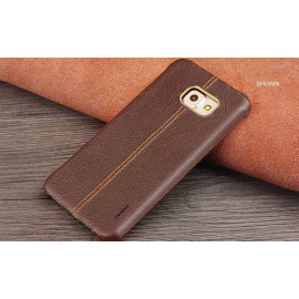 Vaku ® Samsung Galaxy S6 Edge Plus Lexza Series Double Stitch Leather Shell with Metallic Logo Display Back Cover