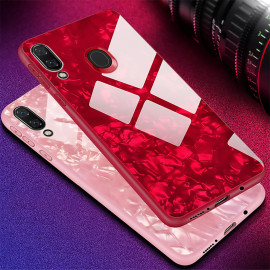 VAKU ® Samsung Galaxy M20 Glossy Marble with 9H hardness tempered glass overlay Back Cover