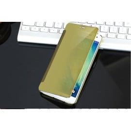 Vaku ® Samsung Galaxy J1 (2016) Mate Smart Awakening Mirror Folio Metal Electroplated PC Flip Cover