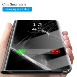 Vaku ® Samsung Galaxy J8 Mate Smart Awakening Mirror Folio Metal Electroplated PC Flip Cover