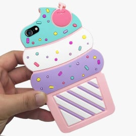 Cute Cases ™ Apple iPhone Se 2020 Cute & Sweet Ice-Cream Design Ultra-Soft Gel Silicon Case Back Cover -Pink + Purple + White