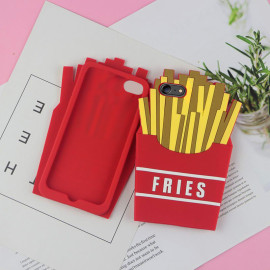 Funny Cases ™ Apple iPhone 7 Cute French Fries Design Ultra-Soft Gel Silicon Case Back Cover Red + Yellow