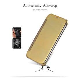 Vaku ® Samsung Galaxy A9 Mate Smart Awakening Mirror Folio Metal Electroplated PC Flip Cover