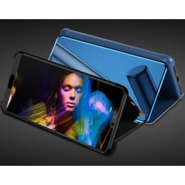 Vaku ® Samsung Galaxy M30 Mate Smart Awakening Mirror Folio Metal Electroplated PC Flip Cover