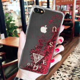 GUESS ® iPhone SE 2020 Timeless Non-Toxic Liquid glitter Case With moving GUESS Logo Back Case