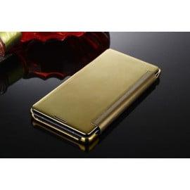 Vaku ® Samsung Galaxy A7 (2015) Mate Smart Awakening Mirror Folio Metal Electroplated PC Flip Cover