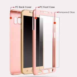 Ooxoo ® Samsung Galaxy A7 360 Full Protection Metallic Finish 3-in-1 Ultra-thin Slim Front Case + Tempered + Back Cover