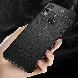 Vaku ® Xiaomi Redmi Note 7 / Note 7 Pro Auto Focus Leather Stitched Edition Soft Silicone 4 Frames plus ultra-thin case transparent cover
