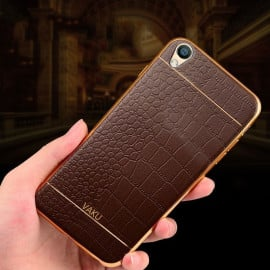 VAKU ® OPPO F1 PLUS European Leather Stitched Gold Electroplated Soft TPU Back Cover