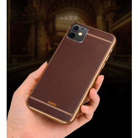 Vaku ® For Apple iPhone 11 Leather Stitched Gold Electroplated Soft TPU Back Cover