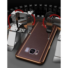 Vaku ® Samsung Galaxy S8 Vertical Leather Stitched Gold Electroplated Soft TPU Back Cover