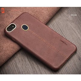 Vaku ® Oppo F5 Youth Lexza Series Double Stitch Leather Shell with Metallic Camera Protection Back Cover
