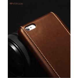 Vorson ® For Apple iPhone 8 Trak Series Sport Textured Leather Dual-Stitching Metallic Electroplated Finish Back Cover