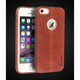 Vorson ® Apple iPhone 5 / 5S / SE Lexza Series Double Stitch Leather Shell with Metallic Logo Display Back Cover