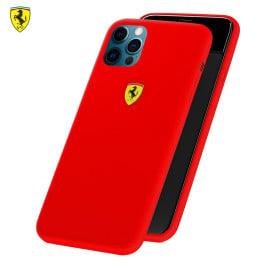 Ferrari ® For Apple iPhone 12/ 12 Pro Liquid Silicon Velvet-Touch Silk Finish Shock-Proof Back Cover