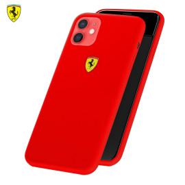 Ferrari ® For Apple iPhone 12 Mini Liquid Silicon Velvet-Touch Silk Finish Shock-Proof Back Cover