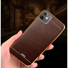 VAKU ® Apple iPhone 11 European Leather Stitched Gold Electroplated Soft TPU Back Cover