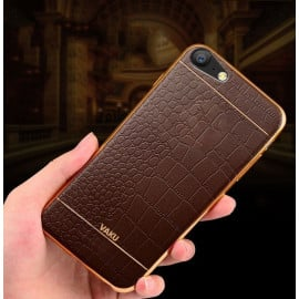 VAKU ® OPPO A57 European Leather Stitched Gold Electroplated Soft TPU Back Cover