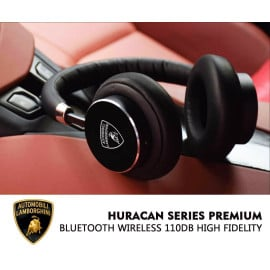 Lamborghini ® Official Huracan Series Premium Bluetooth Wireless 110dB High Fidelity On-Ear Headphones + Mic + Remote Earphone Black