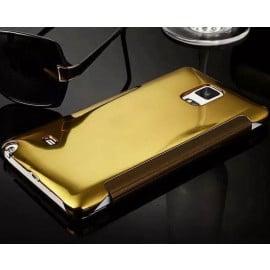 Vaku ® Samsung Galaxy Note 4 Mate Smart Awakening Mirror Folio Metal Electroplated PC Flip Cover