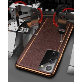Vaku ® Samsung Galaxy Note 20 Vertical Leather Stitched Gold Electroplated Soft TPU Back Cover