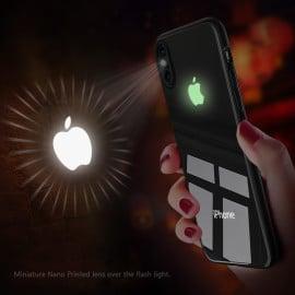 VAKU ® Apple iPhone XS  3D Logo Projector + Radium Glow Light Logo Case Back Cover