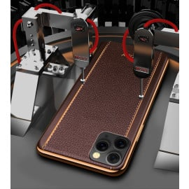 Vaku ® Apple iPhone 11 Pro Max Vertical Leather Stitched Gold Electroplated Soft TPU Back Cover