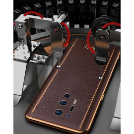 Vaku ® Oneplus 8 Pro Vertical Leather Stitched Gold Electroplated Soft TPU Back Cover
