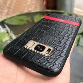 Hojar ® Samsung Galaxy S8 Plus Stroco Series Crocodile Finish Gold Plated Textured Leather Back Cover