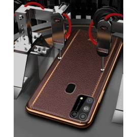 Vaku ® Samsung Galaxy M31 Vertical Leather Stitched Gold Electroplated Soft TPU Back Cover