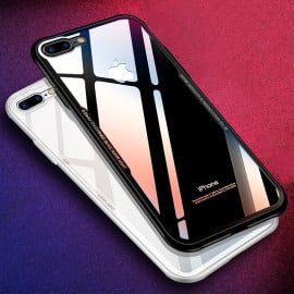 Vaku ® Apple iPhone 8 Plus GLASSINO Luxurious Edition Soft Silicone 4 Frames + Ultra-Thin Case Transparent Cover