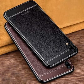Vaku ® Vivo X21 Leather Stitched Gold Electroplated Soft TPU Back Cover