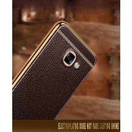 Vaku ® Samsung Galaxy A5 (2017) Leather Stitched Gold Electroplated Soft TPU Back Cover