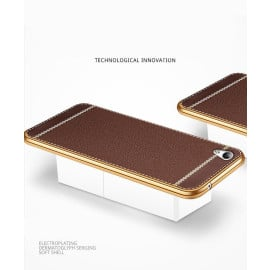 VAKU ® OPPO A37 Leather Stitched Gold Electroplated Soft TPU Back Cover