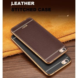 VAKU ® OPPO A57 Leather Stiched Gold Electroplated Soft TPU Back Cover