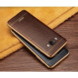 VAKU ® Samsung A8 European Leather Stitched Gold Electroplated Soft TPU Back Cover