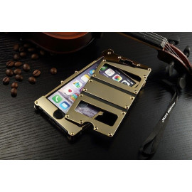 Armor King ® Apple iPhone 6 / 6S Iron Man Dual Window Stainless Steel Shell Riveted Leather+Metal Stand Flip Cover