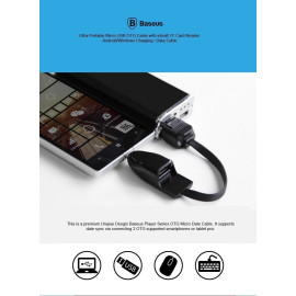Baseus ® Ultra-Portable Micro USB OTG Cable with inbuilt TF Card Reader Android/Windows Charging / Data Cable